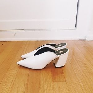 River Island White Curved-Heel Mules, Brand New